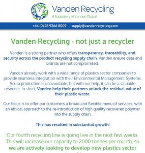 Vanden Recycling newsletter