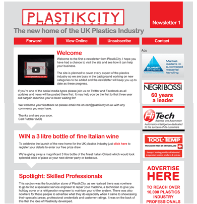 UK plastics news first PlastikCity newsletter