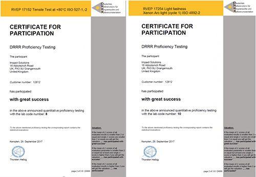 Plastics news Impact Solutions certificates