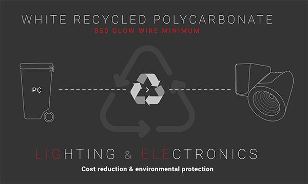 Recycled polycarbonate for lighting & electronics