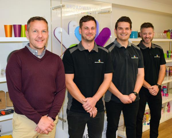 Sales Director Nick Barber (left) and staff from the Broadway Colours Sales Team