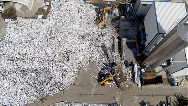 Veka Recycling Aerial shot over old frames and new plant